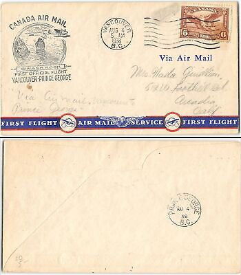 Vancouver B.C. to Arcadia CA, 1938. Air Mail