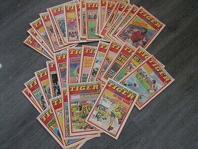 Job Lot Collection of 35 Issues of Tiger and Scorcher Football Comic 1974 - 1979