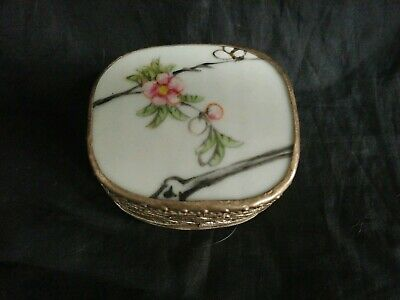 Vintage Chinese Cherry Blossom Porcelain Metal Pill Snuff Box