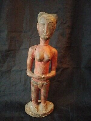 Hand Carved and Painted Wooden Baule Spirit Wife Woman Statue Ivory Coast 10.5""