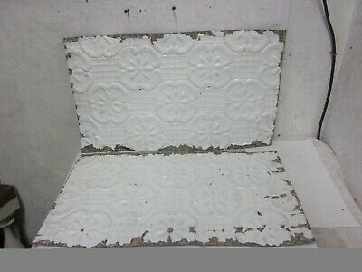 "2 Antique Victorian Detailed Embossed Tin Ceiling Tiles 14 "" x 24"""