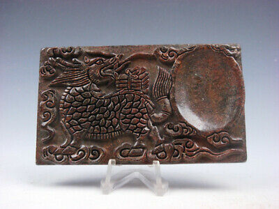 Vintage Nephrite Jade Stone Ink Slab Shape Paperweight Monster Kirin #03282007