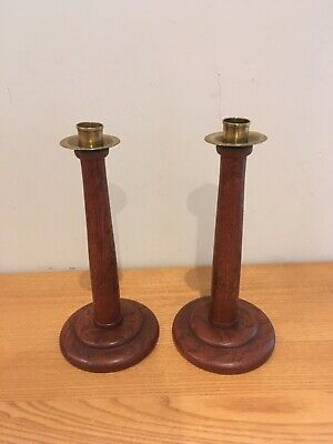 Lovely Pair of 1920's Art Deco Antique Turned Tapered English Oak Candlesticks
