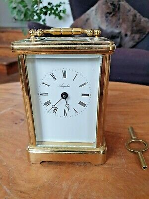 Angelus Solid Brass 8 Day 11jewel Carriage Mantle Clock with Key