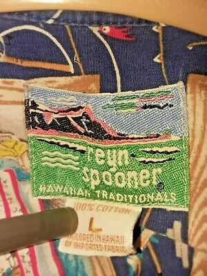 Vtg Reyn Spooner Cotton Shirt L made in Hawaiian Traditions