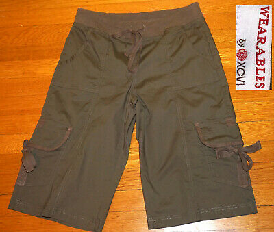XCVI Wearables OLIVE Crops Capri pant Cotton Stretch Pant MESH CARGO POCKETS XS