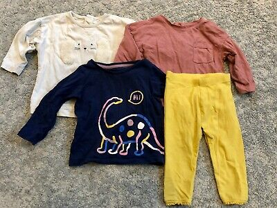 Baby girl size 9-12m bundle: 3x tops (M&S) and 1x leggings (Mothercare)