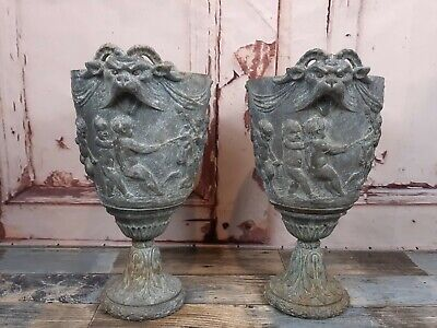 Pair 19th Century Antique French Religious Pewter Spelter Putto Cherub Urns