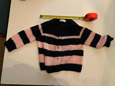 Vintage Blue and Pink Girl Sweater Hand Knitted by Grandma