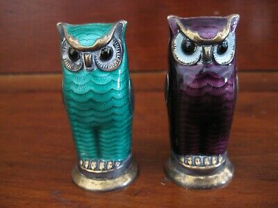 "Norwegian Norway David-Andersen 925s/enamel pair ""owl"" salt-pepper shakers"