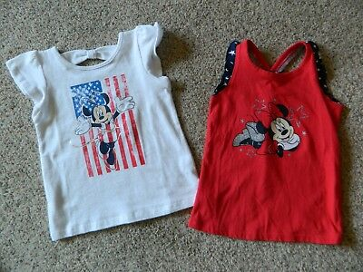 Minnie Mouse 2 pack of girls 24 month red & white shirts w/glitter