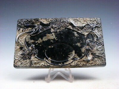 Vintage Nephrite Jade Stone Ink Slab Shape Paperweight Furious Dragons #03282008