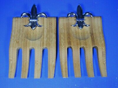 BAMBOO SALAD HANDS Pair Metal FLEUR DE LIS WOOD SERVING UTENSILS Server