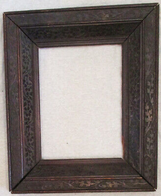 Antique Hand Carved Wide Heavy Black Forest Wood Frame Flowers & Leaves