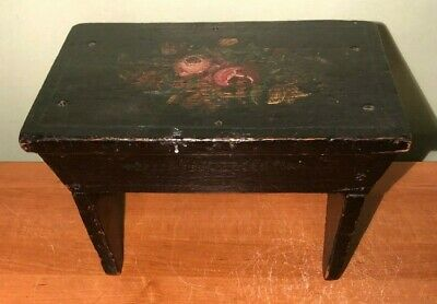 """ANTIQUE BLACK & FLORAL TOLE PAINTED WOODEN FOOTSTOOL 8 3/4"""" tall"""