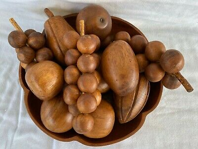 ** Old Vintage Hand Carved Wood Wooden Fruit And Bowl 12 Pcs. **