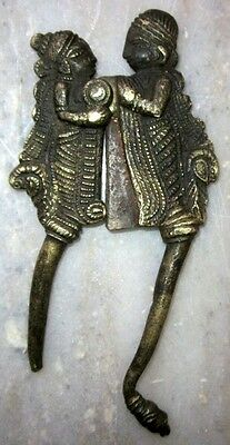 Indian Antique Hand Crafted Man Woman Engraved Brass Betel Nut Cutter