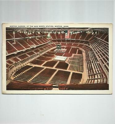 Vtg 1929 Postcard View of Boxing Ring & Seats at Boston Garden New North Station