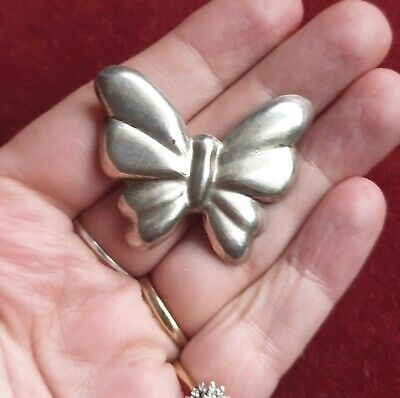 VTG Mid Century Butterfly Brooch Pin 925 Silver  Modernist Large Solid Sterling