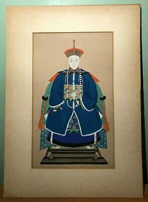 Antique Chinese Asian Ancestral Painting Of Man On Paper- Matted Unframed