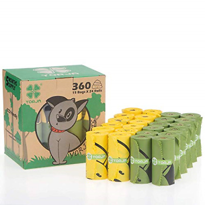 YORJA Dog Poo Bags,24 Rolls/360 Pooh Bags,Extra Thick and Strong,Leak Poop Bags