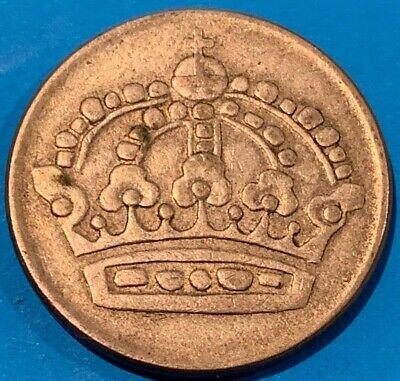 1953 Sweden 50 Ore 0.400 Silver Crown Coin