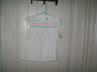 Carter's Girls White Smockered Short Sleeve Top Sizes 4 & 5 Nwt Msrp $22