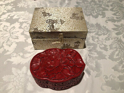 Vintage Chinese Red Cinnabar Red Lacquer Trinket Box Design With Cloth Box