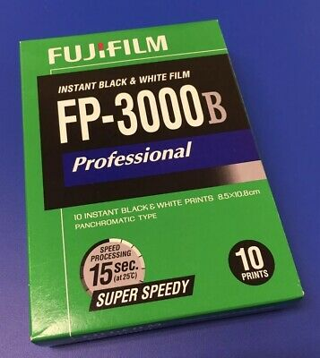 FujiFilm FP-3000B Instant Black & White Film - 1 Pack (10 Exposures) NEW, SEALED