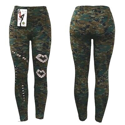 Women's Army Camouflage Green Full Ankle Length Stretch Leggings Plus Size