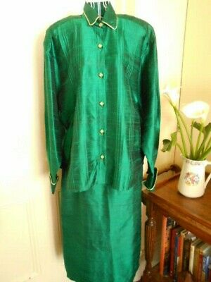 Vintage  Emerald Green Silk Fabric Skirt & Jacket Suit By Penny Mitchell