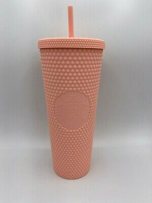 NEW STARBUCKS 2020 Matte Pink Studded Cold Cup Tumbler Spring Collection 24oz