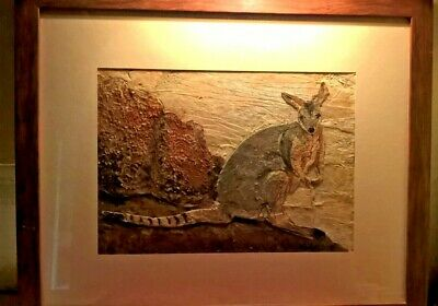 UNIQUE 'YELLOW FOOTED ROCK WALLABY' GENUINE ART IN BARK by J TOOMBS PROF. FRAMED