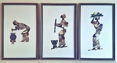 3 Vintage Mid Century African Black Lady Art Pictures, Made From Butterfly Wings