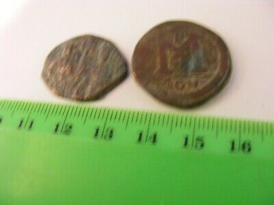 Lot of 2 Ancient Byzantine Bronze Coins ..Eastern Roman Empire..Well used...(G5)