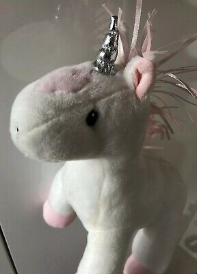 Pumpkin Patch White Plush Unicorn Pink Detail & Silver Horn New Without Tags
