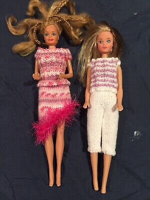 2 hand knitted dresses for Barbie doll