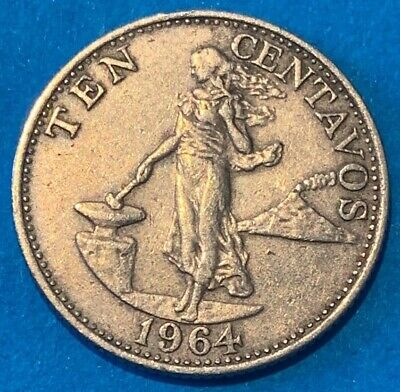 1964 Philippines 10 Centavos Filipino Lady Liberty Coin