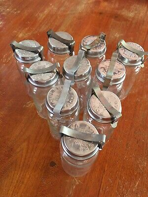 10x Fowlers Vacola jars bottles No 10 with lids and clips