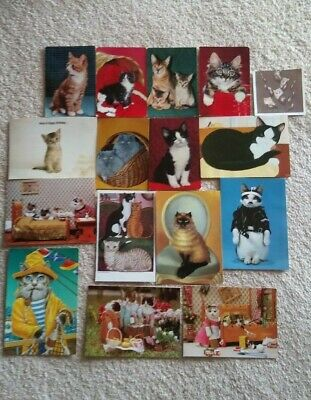 Cat Postcards (ANCO) & Greeting Card Covers Vintage 1960-80s x 16