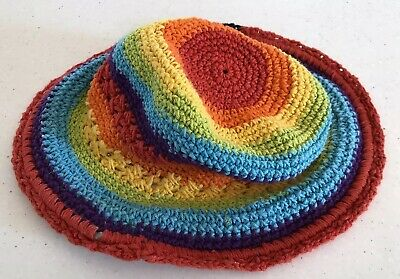 Gorgeous Girls Colourful Hat - Crochet / Knitted Style. Size 1-3