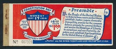 """USA: 1934 Chicago Exposition """"CONSTITUTION DAY"""" Book of Admission Tickets SCARCE"""