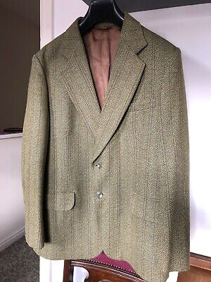 "Dunn & Co London Great Britain Pure Wool Tweed Herringbone Jacket 112R 42"" 44"""