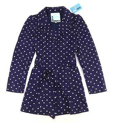 Generation Girls Love Heart Blue White Hearts Single Breasted Coat Age 14-15