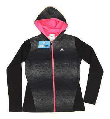 Decathlon Girls Striped Black Outdoor Sports Neon Pink Lightweight Hooded Grey J