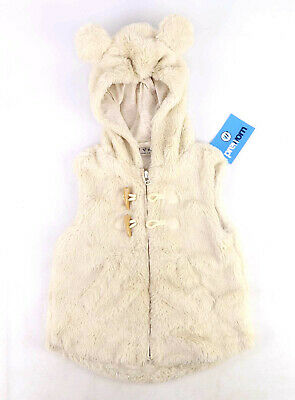 Next Girls Textured Cream Bear Fluffy Hooded Soft Winter Warm Cute Coat Age 3-4
