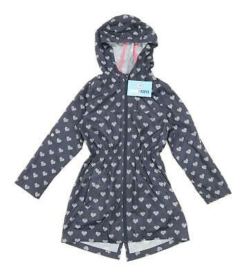 Young Dimension Girls Love Heart Blue Lightweight Long Zip Up Raincoat Coat Age
