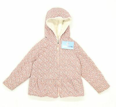 Next Girls Floral Pink Midweight Faux Fur Lined Coat Age 5-6