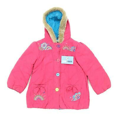 Marks & Spencer Girls Pink Midweight Button Down Rainbows Faux Fur Coat Age 5-6