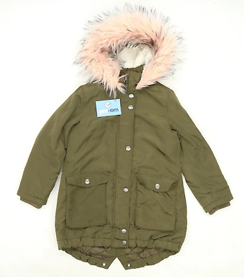 Next Girls Green Midweight Long Zip Up Pink Faux Fur Parka Coat Age 7